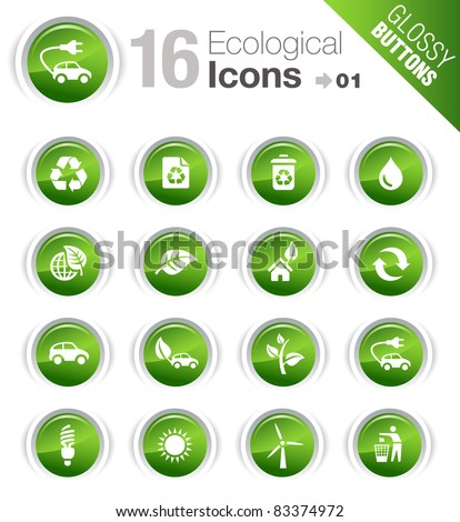 Glossy Buttons - Ecological Icons - stock vector