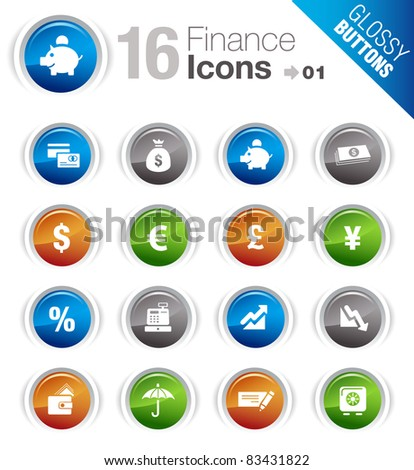 Glossy buttons - Finance icons - stock vector
