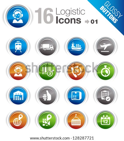 Glossy Buttons - Logistic and Shipping icons - stock vector