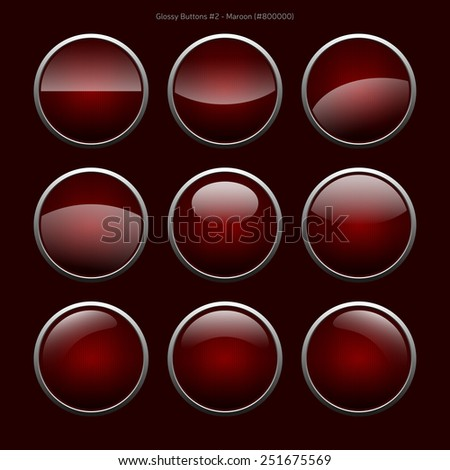 Glossy Buttons (Maroon)