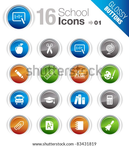 Glossy Buttons - School Icons - stock vector