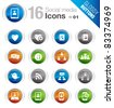Glossy Buttons - Social media icons - stock vector