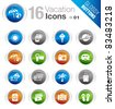Glossy Buttons - Vacation icons - stock photo