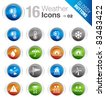 Glossy Buttons - Weather icons - stock vector