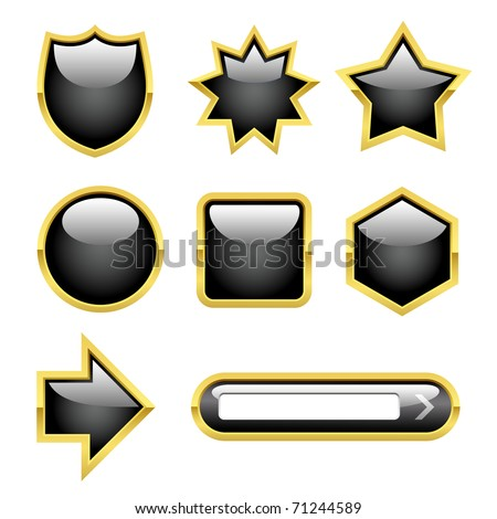 Glossy Buttons with Gold borders. file Eps 8 / only gradient used! - stock vector