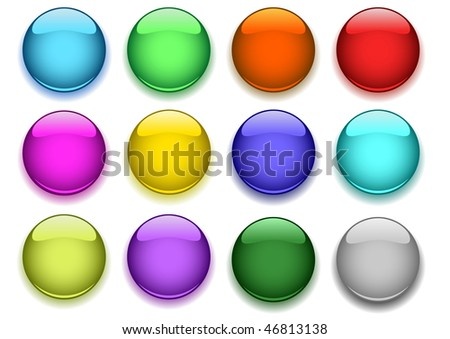 Glossy buttons with shadow - stock vector