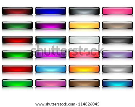 Glossy buttons with smooth reflection vector, part 1 - stock vector