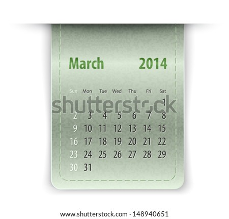 Glossy calendar for march 2013 on leather texture. Sundays first. Vector illustration - stock vector