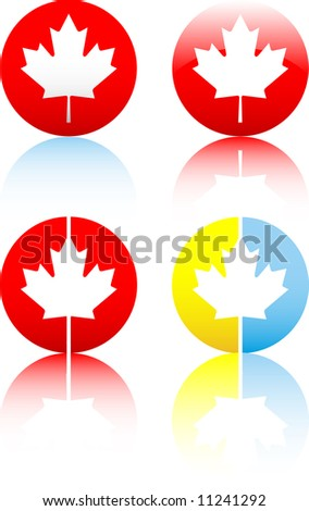 Glossy Canadian flag symbol icon on white background - stock vector