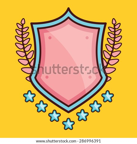 Glossy cartoon shield with stars and laurel wreaths. Trendy flat line style design