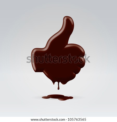 Glossy chocolate thumb up hand silhouette melting and dripping - stock vector