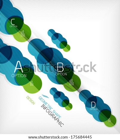 Glossy circle geometric shape info graphic background. For business presentation | technology | web design - stock vector