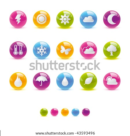 Glossy Circle Icons - Weather and Climate in Adobe Illustrator EPS 8 for multiple applicatios. - stock vector