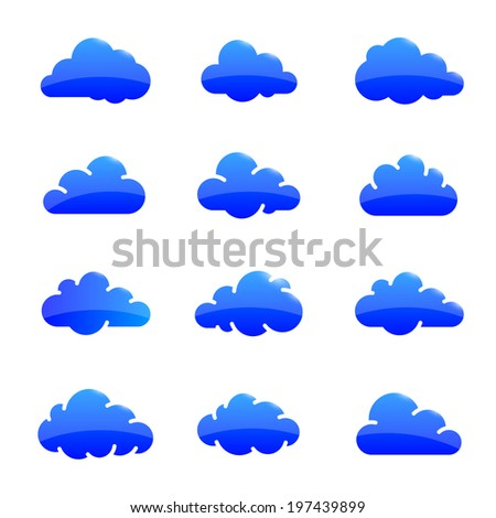 Glossy cloud icons. Cloud shapes collection. Vector illustration