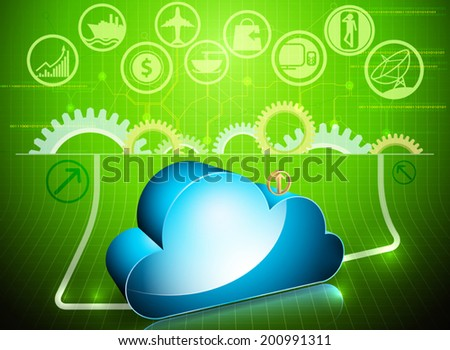Glossy cloud processing in progress vector business background