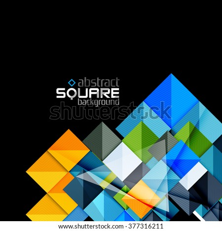 Glossy color squares on black. Geometric abstract background - stock vector