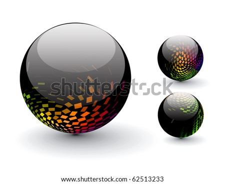 Glossy colorful abstract halftone icon design with different -different patterns. - stock vector