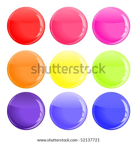 glossy colorful button on white background