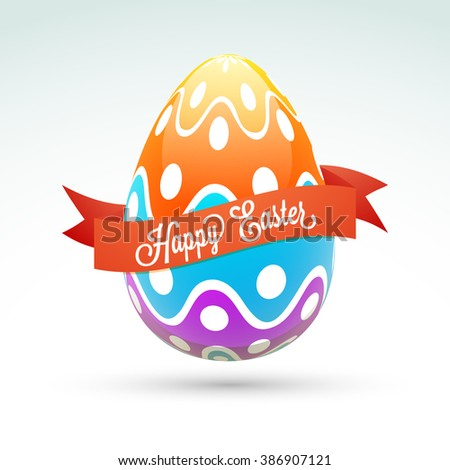 Glossy colorful Egg with ribbon on grey background for Happy Easter celebration.