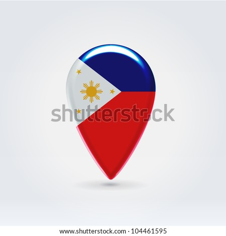 Glossy colorful Philippines map application point label symbol hanging over enlightened background - stock vector