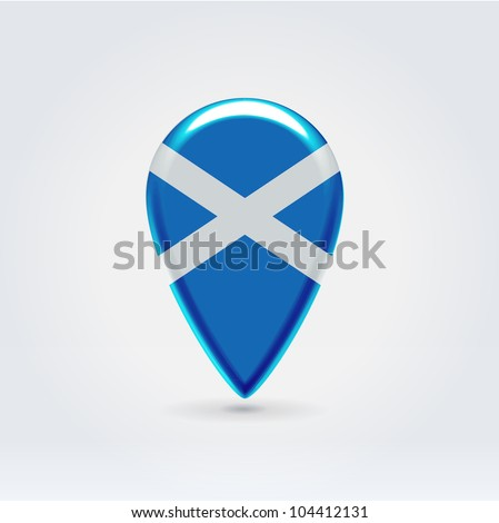 Glossy colorful Scotland map application point label symbol hanging over enlightened background - stock vector