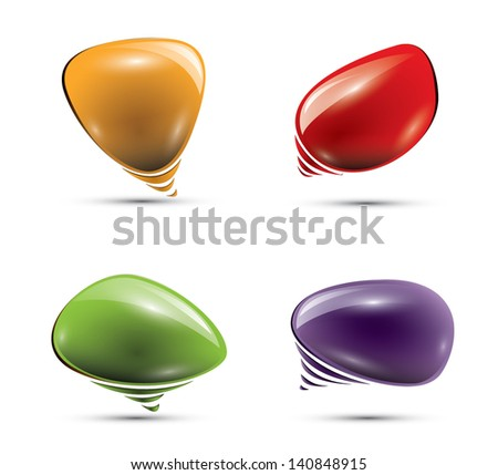 Glossy colorful speech bubbles, EPS 10, isolated - stock vector