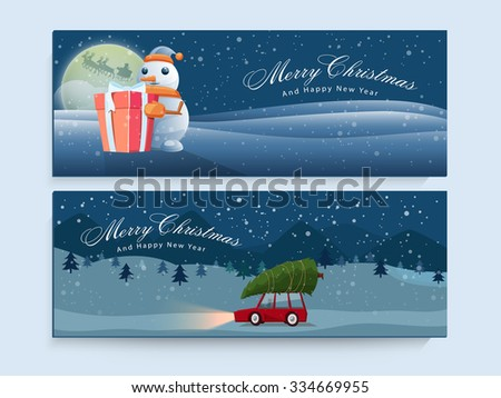 Glossy creative website header or banner set for Merry Christmas and Happy New Year celebrations. - stock vector