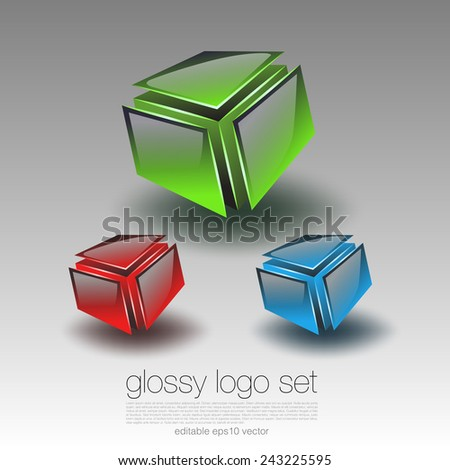 Glossy Cubic Logo Set - stock vector