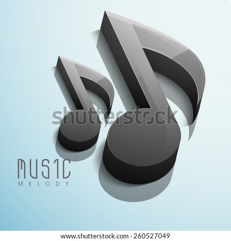 Glossy 3D black musical notes on shiny abstract sky blue background. - stock vector