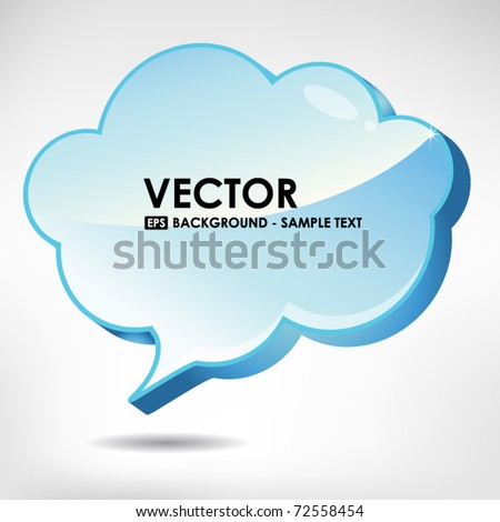 Glossy 3D cloud bubble - stock vector