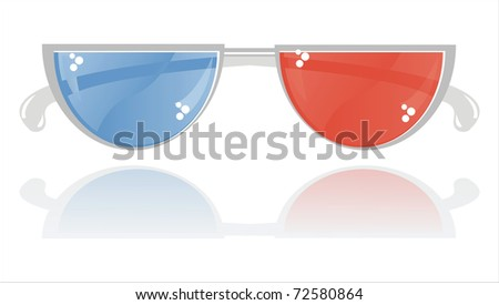 glossy 3D glasses isolated on white - stock vector