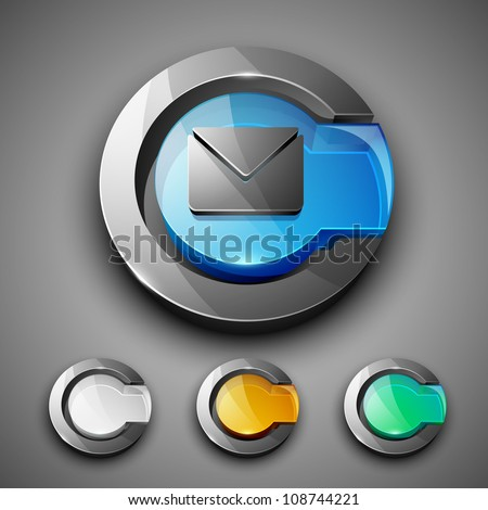 Glossy 3D web 2.0 message symbol icon set. EPS 10. - stock vector