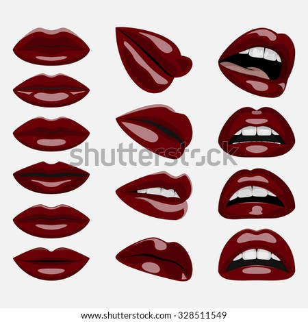 Glossy dark red Lips. Vector beauty Set of open and closed Woman Mouths for your Design - stock vector