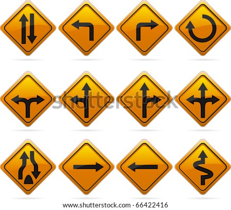 Glossy Diamond Road Arrow Signs/12 glossy driving signs. The highlights are on one layer if a flat look is preferred. The signs have not been flattened and are broken up into layers for easy editing. - stock vector