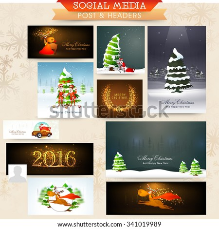 Glossy elegant social media post, ads, headers or banners for Merry Christmas celebration. - stock vector
