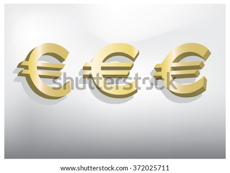 Glossy Euro Icon 3D Gold - stock vector
