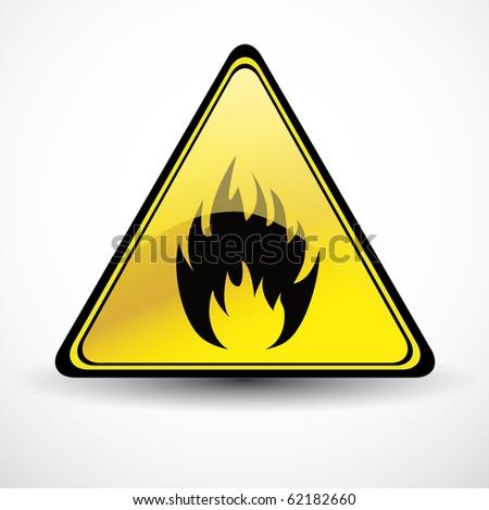 Glossy Fire danger sign - stock vector
