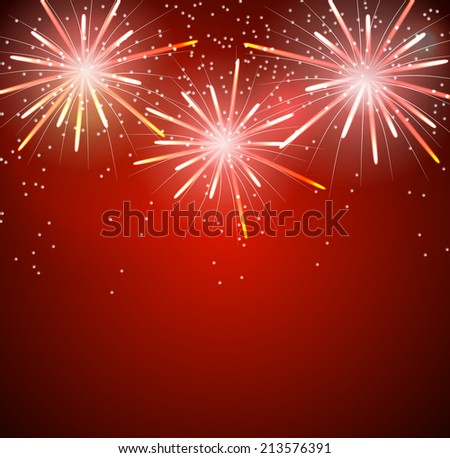 Glossy Fireworks Background Vector Illustration - stock vector