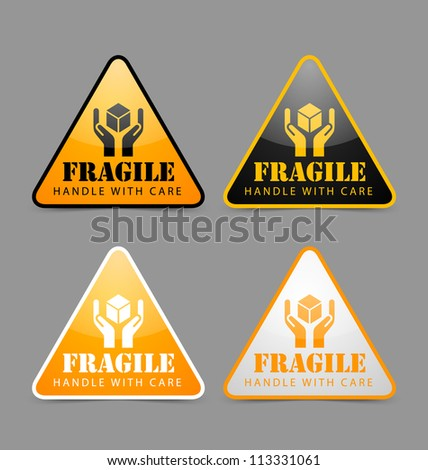 Glossy fragile icons isolated on grey background - stock vector