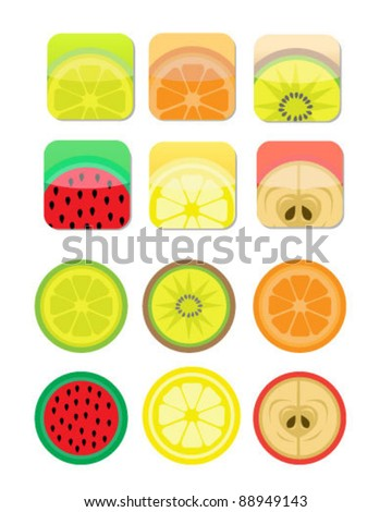 Glossy Fruit Icons - stock vector