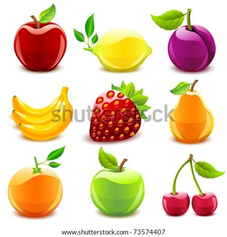 Glossy fruit set - stock vector