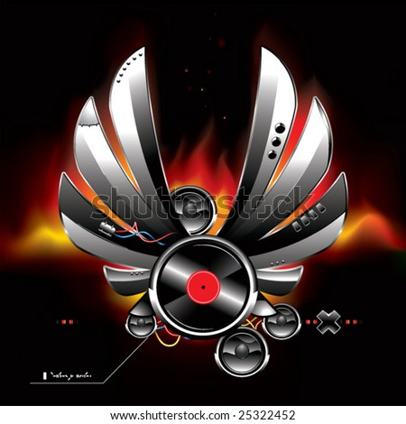 Glossy futuristic sound system with metal wings burning somewhere in space - stock vector