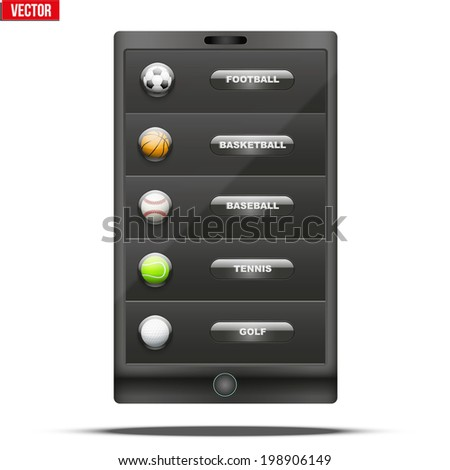 Glossy Glass icon with a sports ball in smartphone menu. Button for a site or application. Vector illustration.