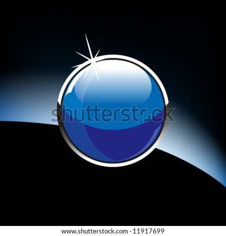 Glossy glass sphere on a black background - stock vector