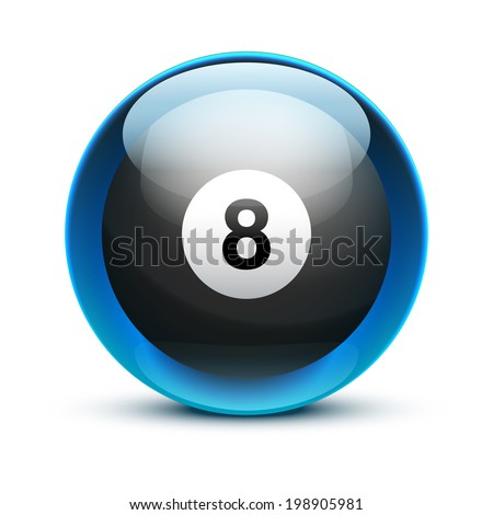 Glossy Glass sports icon with a billiard ball. Button for a site or application. Vector illustration. Isolated on white background. - stock vector