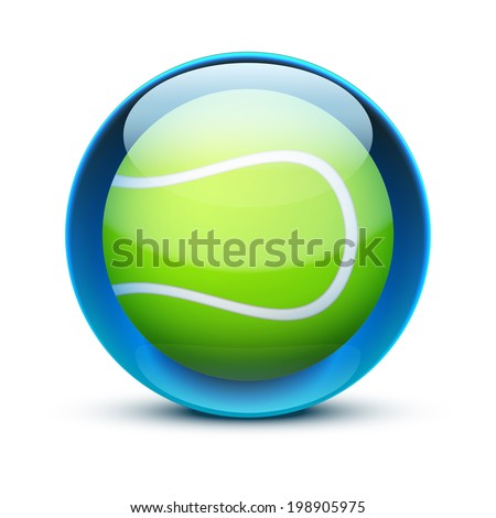 Glossy Glass sports icon with a tennis ball. Button for a site or application. Vector illustration. Isolated on white background. - stock vector