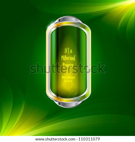 Glossy glass vector badge / banner / button with chrome decoration, on a green abstract background - stock vector