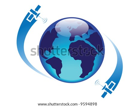 glossy globe with satellites - stock vector