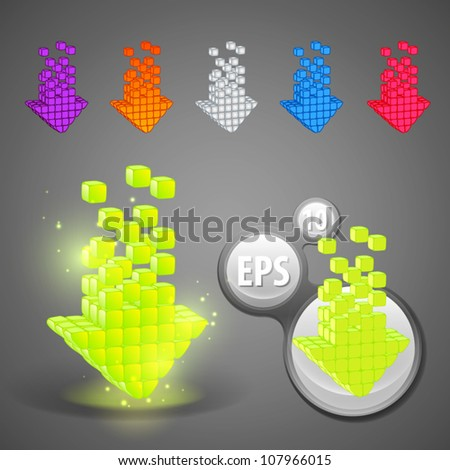 Glossy glowing arrow emblem eps10 vector colorful icon set - stock vector
