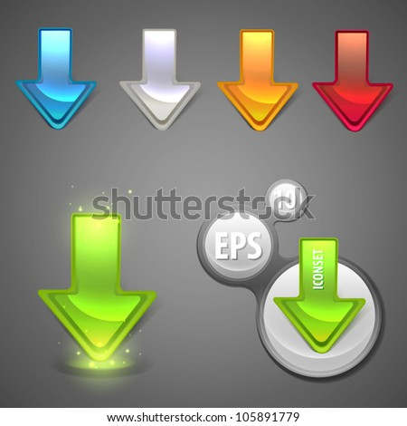 Glossy glowing arrow sticker vector colorful icon set - stock vector